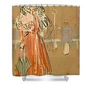 Female Figure In Red Shower Curtain