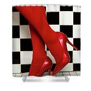 Female Legs In Red Pantyhose And Shoes On High Heels On A Background Shower Curtain