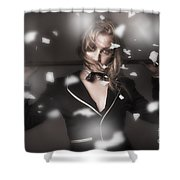 Female Showgirl Performing On A Theater Stage Shower Curtain