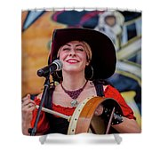 Female Stage Performer With Drum Shower Curtain