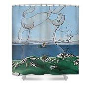 Feminine Landscape Shower Curtain