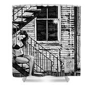 Feminine Stairwell Shower Curtain