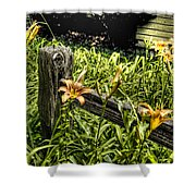 Fence And Flowers Shower Curtain