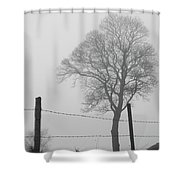 Fence And Fog Shower Curtain