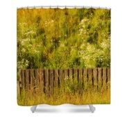 Fence And Hillside Of Wildflowers On Suomenlinna Island In Finland Shower Curtain