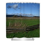 Fence And Open Field Shower Curtain