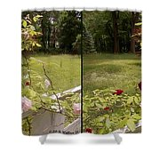 Fence Full Of Roses - Cross Your Eyes And Focus On The Middle Image Shower Curtain