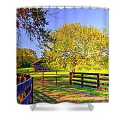 Fence Pasture And Barn 1721 Shower Curtain