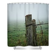 Fence Post And Fog Shower Curtain