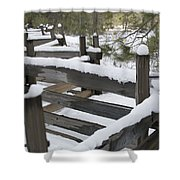 Fence Post At Donner Lake Area Covered Shower Curtain
