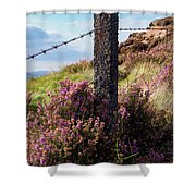 Fence Post In The Peak District Shower Curtain