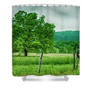 Fence Row And Tree Shower Curtain