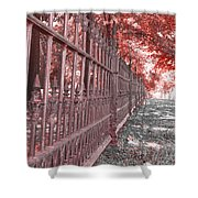 Fenced In Red Shower Curtain