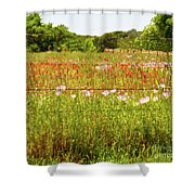 Fenced In Wildflowers Shower Curtain