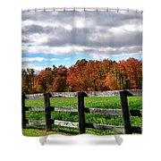 Fences, Fields And Foliage Shower Curtain