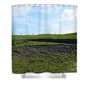 Fencing Along A Field Above The Cliff's Of Moher Shower Curtain