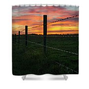 Fencline Sunset Shower Curtain