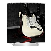 Fender Guitar And Amp In Selective Color Shower Curtain
