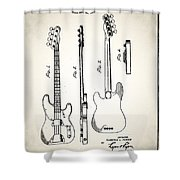 Fender Precision Bass Patent 1952 Shower Curtain