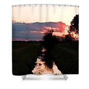 Fenland Sunset Shower Curtain