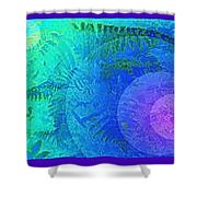 Fern Strip 5 Blue Green Shower Curtain