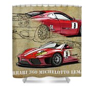 Ferrari 360 Michelotto Le Mans Race Car. Two Drawings One Print Shower Curtain