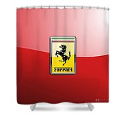 Ferrari 3d Badge-hood Ornament On Red Shower Curtain
