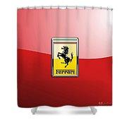 Ferrari 3d Badge-hood Ornament On Red Shower Curtain