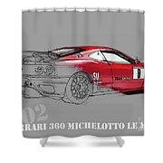 Ferrari Michelotto Race Car. Handmade Drawing. Number 9 Le Mans Shower Curtain
