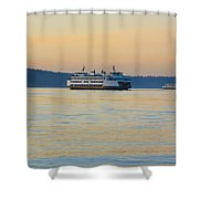 Ferries At Sunset Shower Curtain
