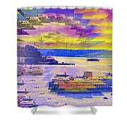 Ferries Off Alki Shower Curtain