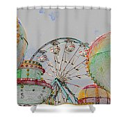 Ferris Wheel And Balloons Shower Curtain