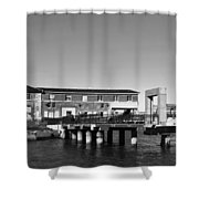 Ferry Building And Pinnacle Building - San Francisco Embarcadero - Black And White Shower Curtain