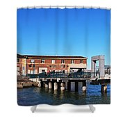 Ferry Building And Pinnacle Building - San Francisco Embarcadero Shower Curtain
