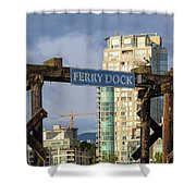 Ferry Dock At Granville Island In Vancouver Bc Closeup Shower Curtain