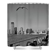 Ferry Ride To Statue Of Liberty Ny Nj Black Wht  Shower Curtain