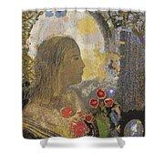 Fertility. Woman In Flowers Shower Curtain