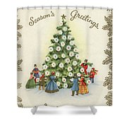 Festive Christmas Tree In A Town Square Shower Curtain