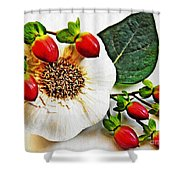 Festive Garlic Shower Curtain