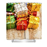 Festive Greeting Gifts Shower Curtain