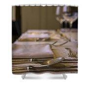 Festive Table Setting For A Formal Dinner  Shower Curtain