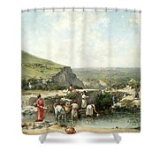 Fetching Water. Algeria Shower Curtain
