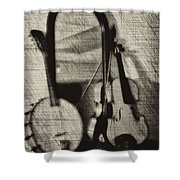 Fiddle And Mandolin Banjo Shower Curtain