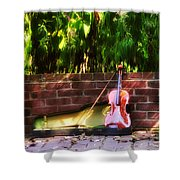 Fiddle On The Garden Wall Shower Curtain