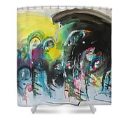 Fiddleheads 105- Original Abstract Colorful Landscape Painting For Sale Red Blue Green Shower Curtain