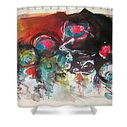 Fiddleheads- Landscape Painting For Sale Red Blue Green Shower Curtain