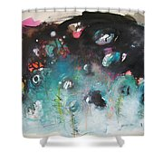 Fiddleheads- Original Abstract Colorful Landscape Painting For Sale Red Blue Green Shower Curtain