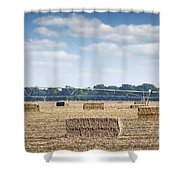 Field With Straw Bale And Center Pivot Sprinkler System Agricult Shower Curtain