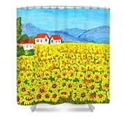 Field With Sunflowers Shower Curtain