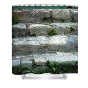 Fieldstone Stairs New England Shower Curtain